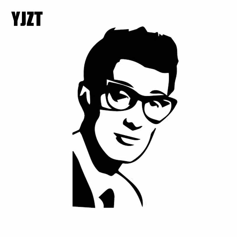 YJZT 9CM*15.3CM Buddy Holly Car Sticker Rock And Roll Ornament Vinyl Decal Beautiful Black/Silver C27-0156