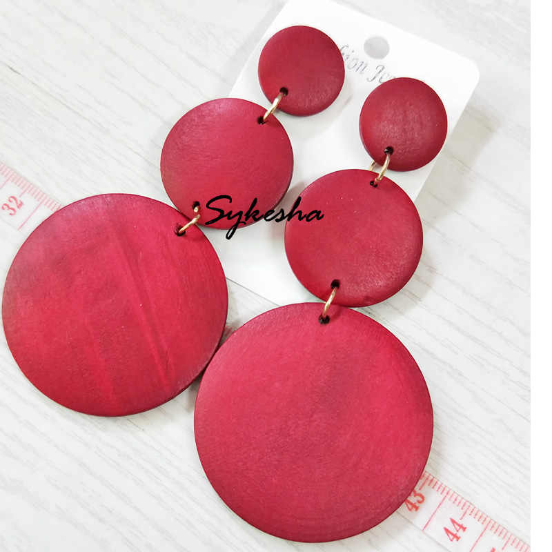 2019 Newest Vintage Long Round Wooden Earrings For Women 3 Size Round Circle Big Statement Earrings Jewelry Accessories