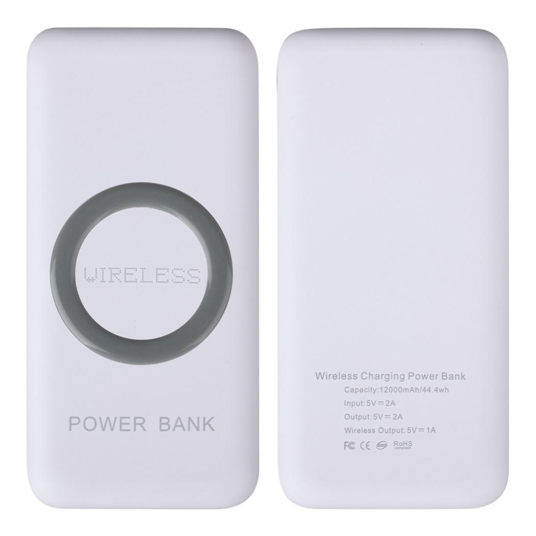 QI Wiress Charge 12000Ah Powerbank Portable  Dual USB Power  Bank Display 5V1A Polymer Batteries For IPhone Xiaomi(China)