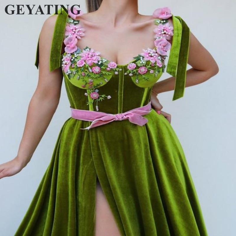 Pear Green Velvet High Side Slit   Prom     Dresses   2019 Elegant Long Women Party Evening   Dress   with Spaghetti Straps Beaded 3D Flower