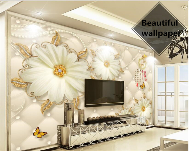 Beibehang Klasik Kertas Dinding Rumah Dan Kaya Eropa Cantik Bunga Emas Perhiasan Latar Belakang Papel