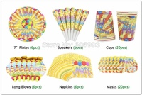 50pcs/set Kids Birthday Party Set Decoration With Napkin Cup Plate Long Blow Festive & Event Party Supply For 6 People