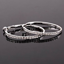 Fashion big crystal round stainless steel hoop earrings for women(China)