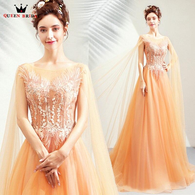 Robes de soirée élégantes Orange 2019 mode a-ligne avec Cape Tulle dentelle fleurs robes de soirée formelles robe robe de soirée CS116
