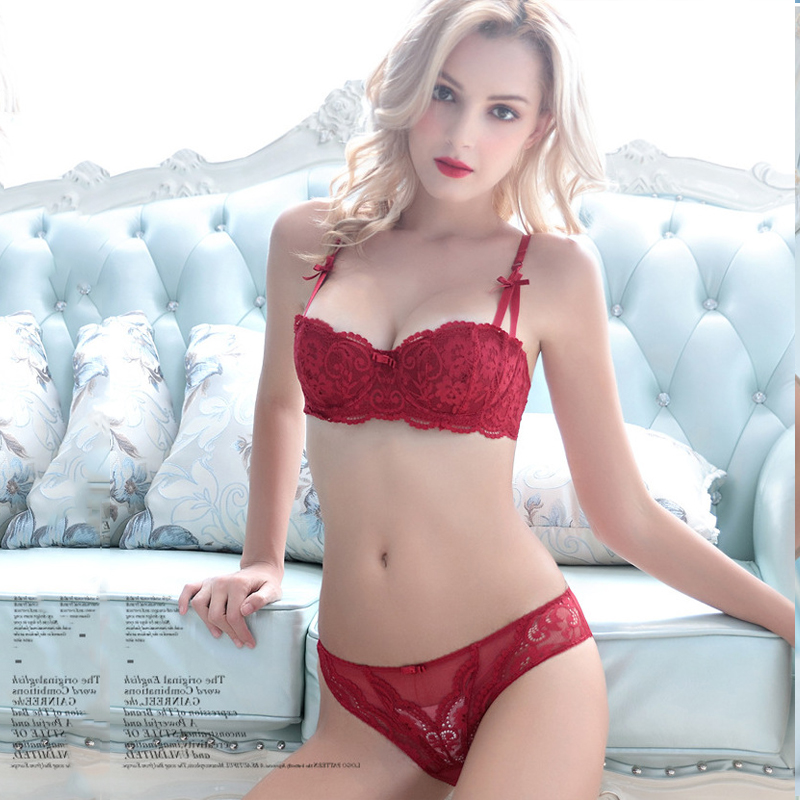 0f1f070f611 US $10.89 |sexy lace bra and panty set push up type beautiful flowers  patterns for hot sexy female with smooth cotton fabric-in Bra & Brief Sets  from ...