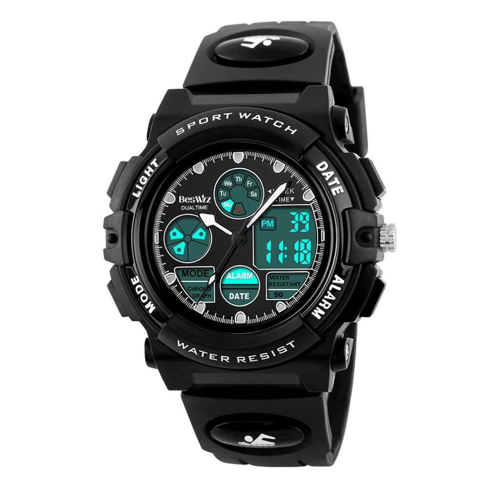 Kids Watches Anti-Shock 5Bar Waterproof Outdoor LED Sport Children Watches Multifunction Dual Time Quartz Digital Silicone Watch