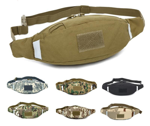 Top Quality Men Nylon Belt Hip Bum Fanny Waist Pack Purse Reflective Stripe  Military Male Travel Riding Cell Mobile Phone Bag 1ca09aed26488