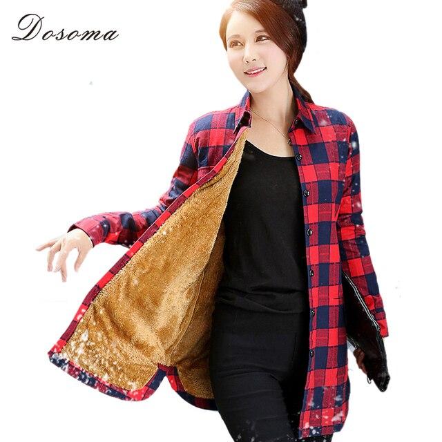 Polaire vérifié chemisier femmes 2017 automne hiver chaud rouge et noir  chemise à carreaux style f89d2984d80b