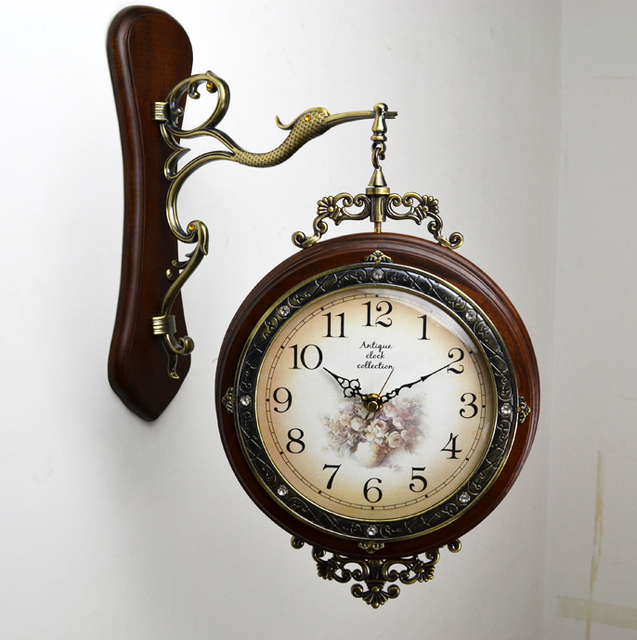Fashion chinese style american style wall clock wood Large mute brief classic double faced clock