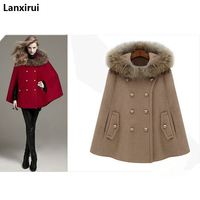 Fast Shipping 2018 Fashion Women 'S British Style Autumn And Winter Personalized Faux Fur Hooded Cloak Cape Wool Coat Outerwear