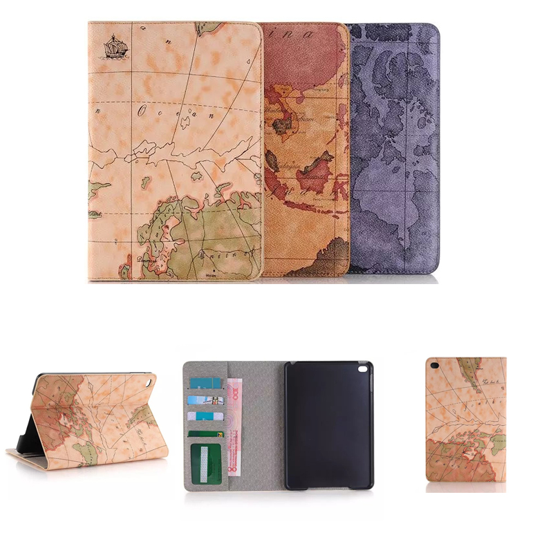 Retro World Map Cover for iPad mini 4 cases 7.9 UltraThin Smart Protective Case for iPad mini 4 Cover 7.9 with Stand Holder