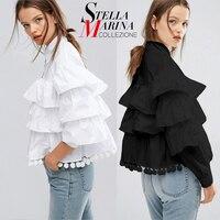 2016 Fashion Brand Women Casual Shirts Blouses Ruffles Butterfly Sleeve Patchwork Chiffon Female Black White Tops