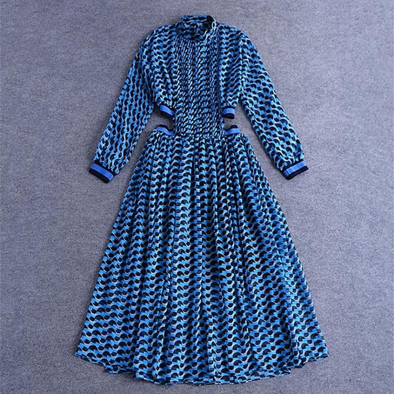 Élégant dames sexy taille frais imprimé petit col montant robe plissée longue robe 2019 été mode tenue décontractée B152