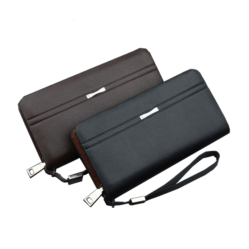 Men Wallet Leather Card Coin Holder Hot Sale 2017 Famous Brand Wristlet Zipper Casual Long Phone Clutch Male Purse Money Pocket designer men wallets famous brand men long wallet clutch male money purses wrist strap wallet big capacity phone bag card holder