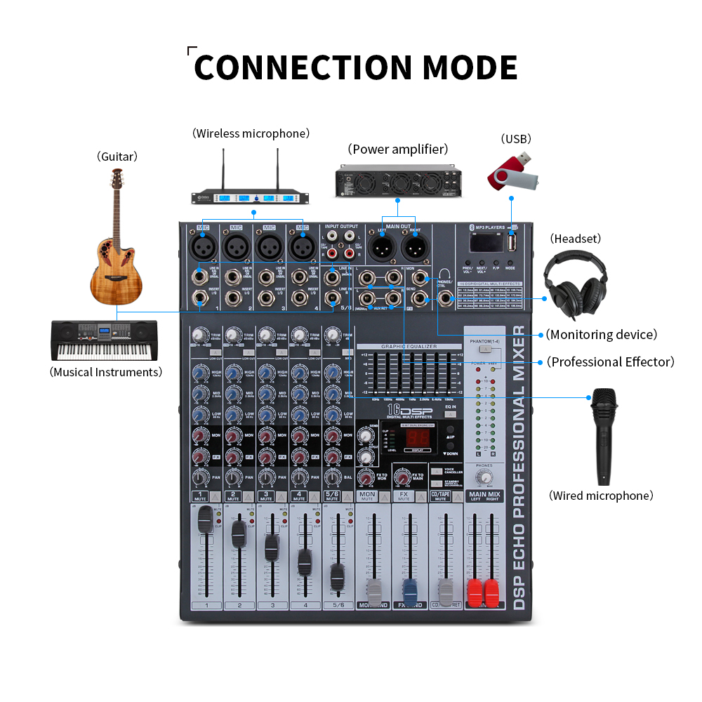 Good quality, Clean sound!!! 6 Channels Mixer Digital Audio dj controller with 48V Phantom Power USB Slot for Recording Stage - 6