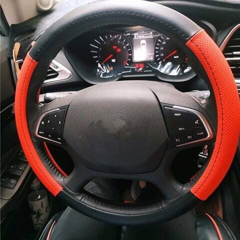 38cm Cowhide car Steering cover couvre Universal Embossing Leather Car-styling Steering Wheel Covers for all cars