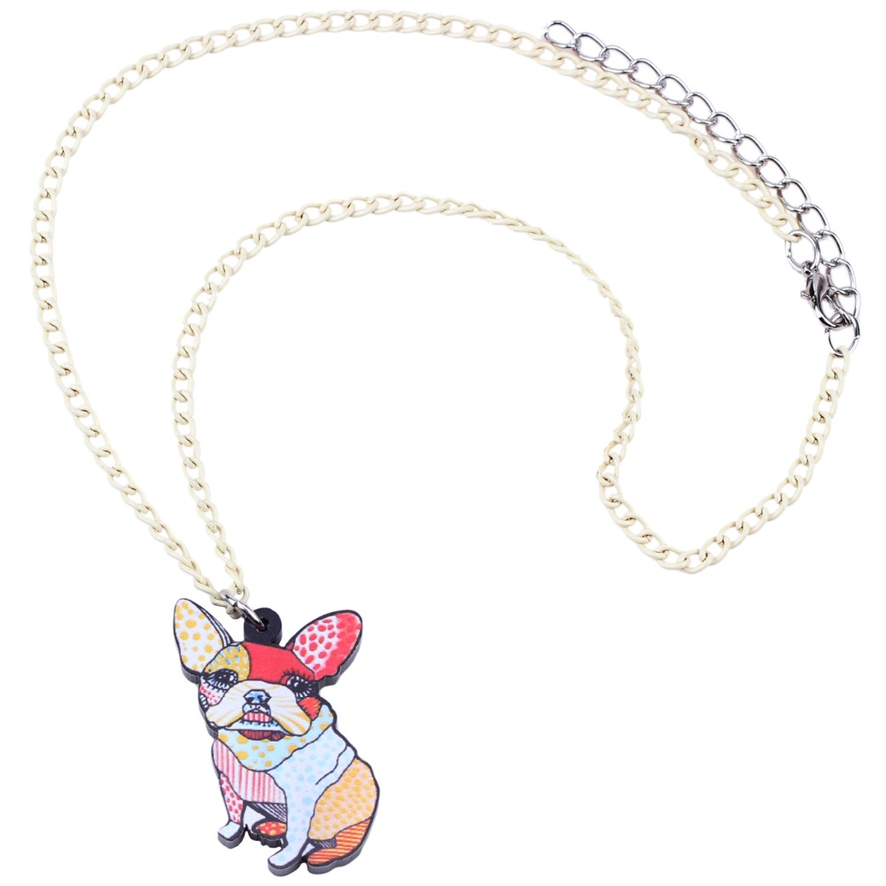 Bonsny Acrylic Cartoon French Bulldog Pug Dog Necklace Pendant Chain Choker Floral Animal Jewelry For Women Girl Ladies Kid Gift
