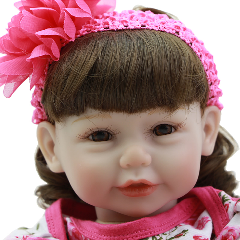 Cloth Body Reborn Girl Baby 20 Inch 50 cm Silicone Vinyl Alive Newborn Babies Dolls With Flower Dress Kids Birthday Xmas Gift