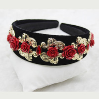 Flower Headband Tiara Baroque Broadside Retro Headband Bridal Hair Clip Headband Tiara 721