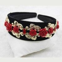 Flower Headband Tiara Baroque Broadside Retro Headband Bridal Hair Clip Headband Tiara 721