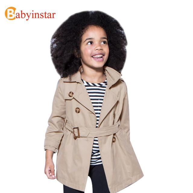 Chica Trinchera Abrigo Abrigo de Estilo Británico Del Otoño Del Resorte de Los Niños de Color Beige Cazadora de Invierno de Buena Calidad Ropa de Bebé Niña prendas de Vestir Exteriores