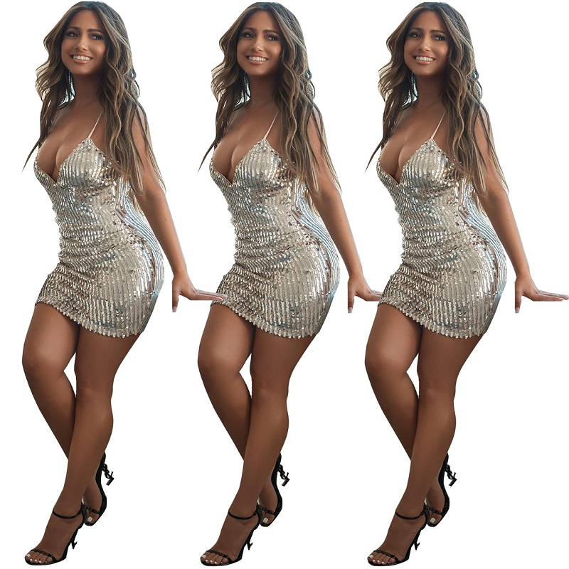 Women's Sparkle Glam Silver Sequin Dress Spaghetti Strap Dress