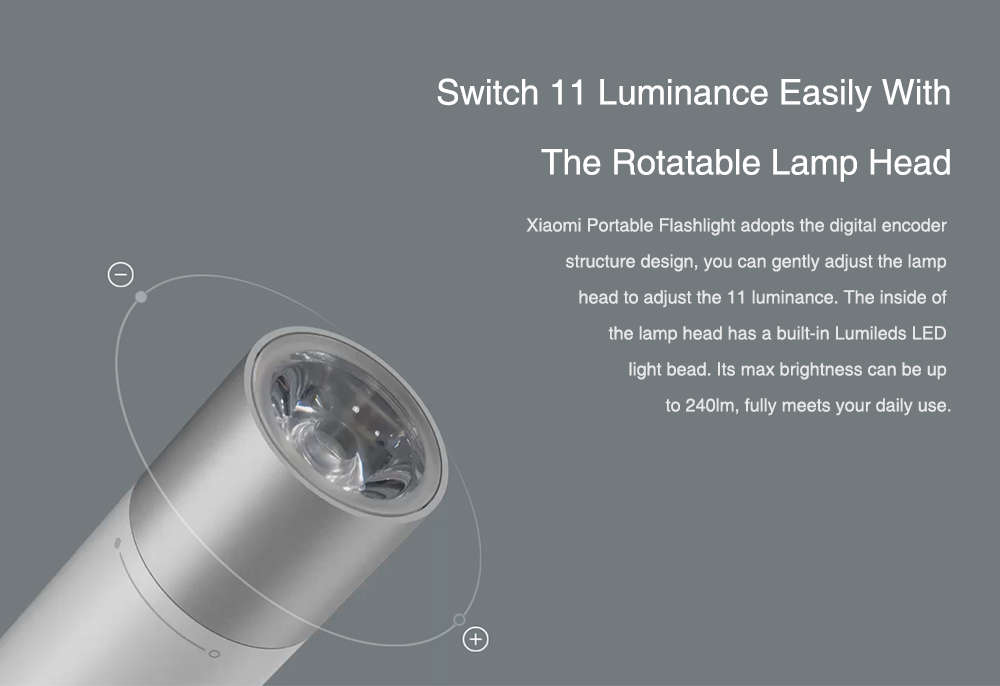 Xiaomi Portable Flash light 11 Adjustable Luminance Modes With Rotatable Lamp Head 3350mAh Lithium Battery USB Charging Port 5