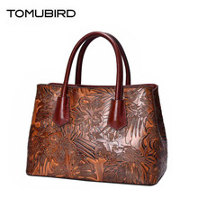 TOMUBIRD 2020 new superior women genuine leather bag brand women bag fashion Luxury Embossing Designer bag Leather handbags tomubird 2017 new superior leather retro embossed designer famous brand women bag genuine leather tote handbags shoulder bag