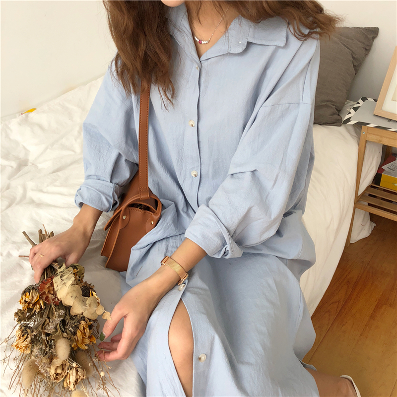 Vintage autumn Long Dress long Sleeve shirt turn down collar woman Lady loose shirt Casual Fashion maxi Dress cotton blue white 10