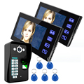 """Free Shipping Touch Key 7"""" LCD Fingerprint Video Door Phone Intercom System With fingerprint Access Control Home Security"""