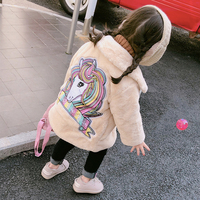 Winter warm thick baby jacket girls jacket kids designer coat children outwear back embroidery horse faux fur 3 to 9 yrs
