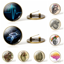 Anatomical Heart Heartbeat Sign Brooch Glass Dome Jewelry Bronze Badge Electrocardiogram Brain Men Doctors Halloween Gifts татуировка переводная heartbeat