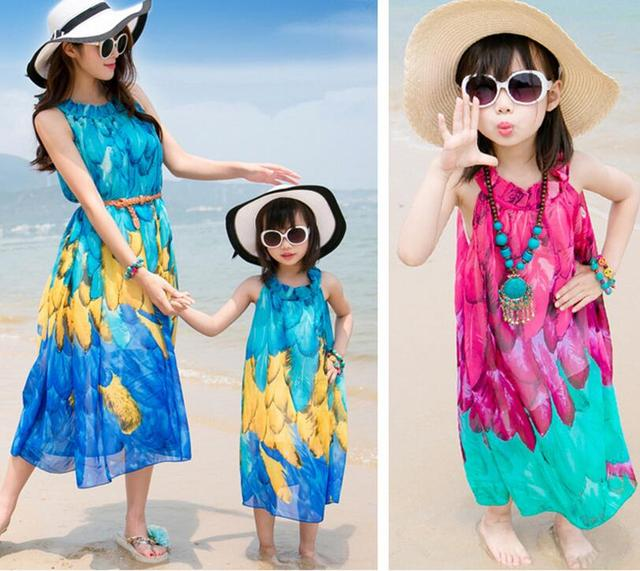 Fresh Elegant Mother Daughter Dresses Clothes Ventilation Family Matching Clothing Bohemian Dresses For Girls Familia Ropa