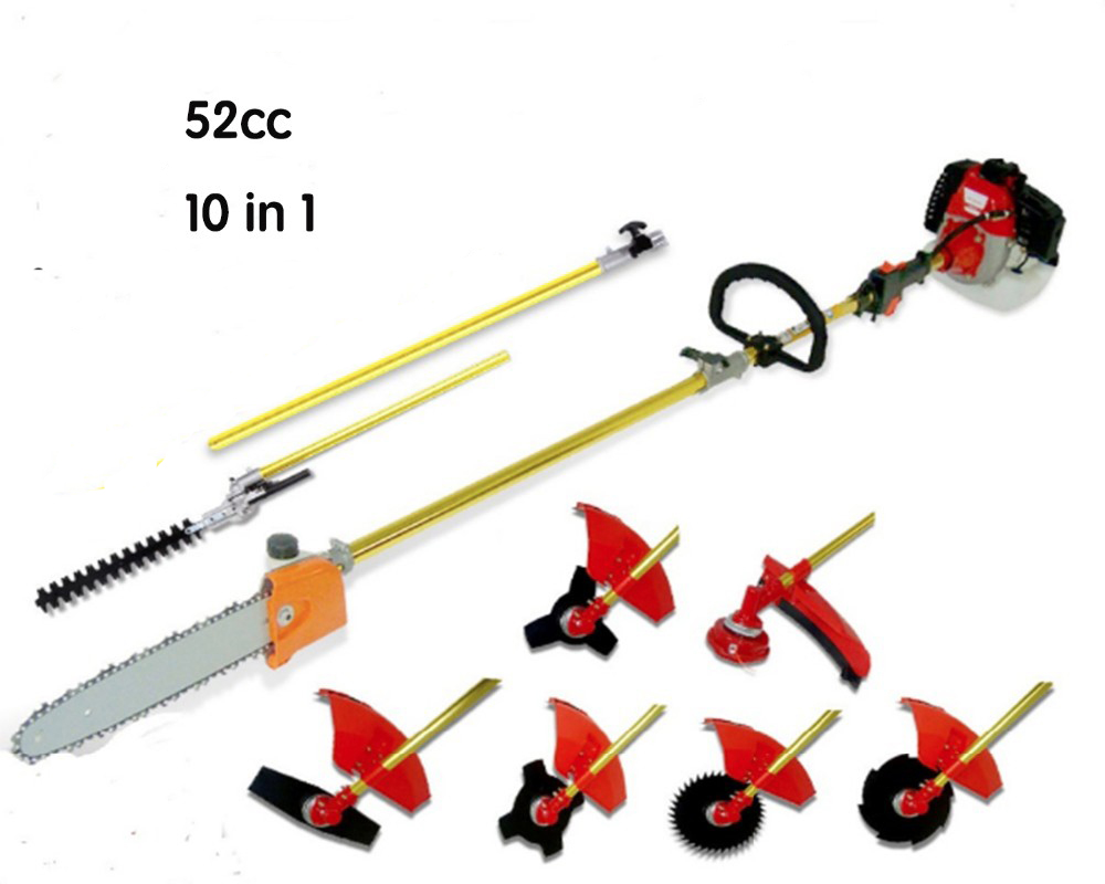 Professional 52CC 2-STROKES 10 in 1 Multi brush cutter grass trimmer lawn mower,tree pruner Whipper Snipper 2016 new garden tools top quality charging grass trimmer portable home lawn mower with wheels trimmer grass trim level machine