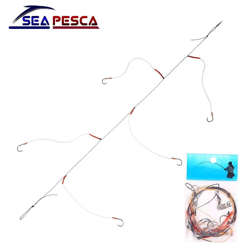 SEAPESCA High Carbon Steel String Hook with 5 Small Hook Rigs Swivel Fishing Tackle Lures Bait Pesca Fishhooks ZB445(China)