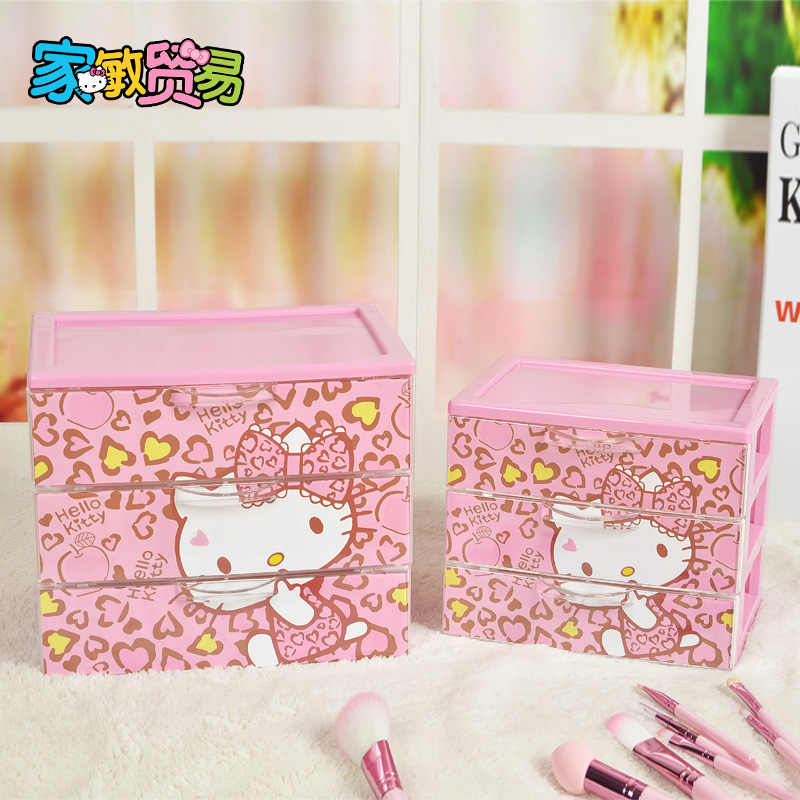 Hello Kitty Receiver Box Three Layer Drawer Storage Box Jewelry Storage Box  Cosmetic
