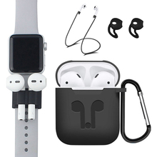 5Pcs/Set Earphone Case For Apple AirPods Accessories Air Pods Case Cover For Airpods Apple Soft Silicone Protective AirPod Cases kartice for airpods strap [nerer lose your airpod]iphone 7 iphone 7 plus air pods strap wire rope connector for apple airpod