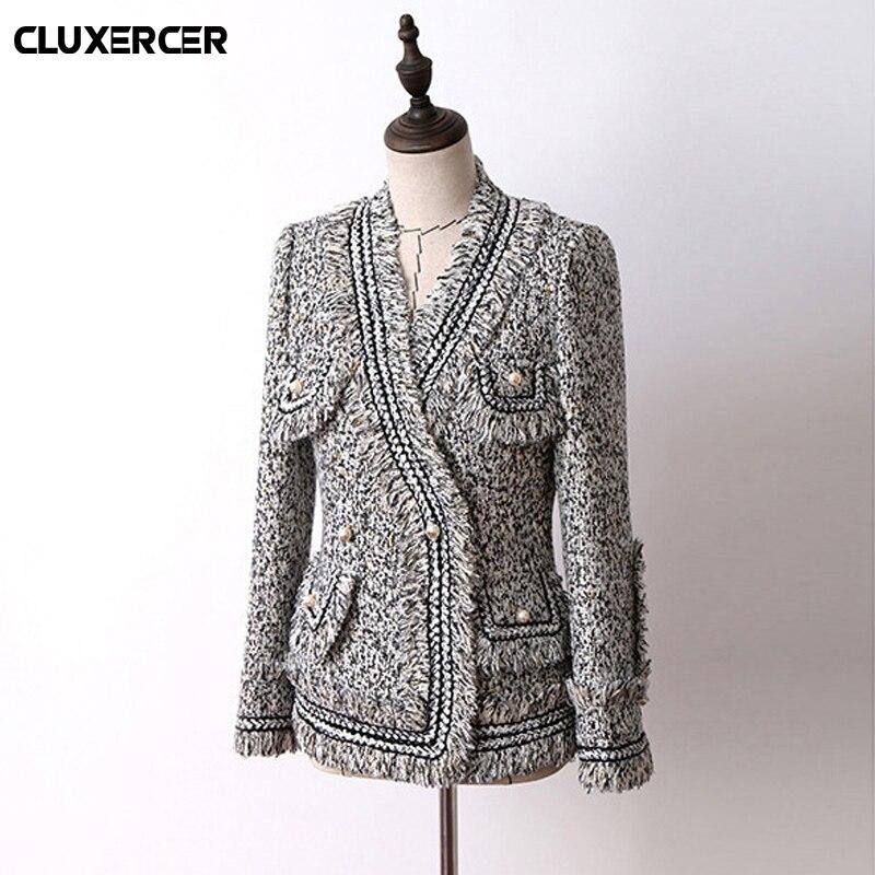 Perle Veste Femmes Manteau Haute Gland Double Tweed Manche Qualité Boutonnage Outwear Élégance Gray Longue Laine WE2e9YIDbH