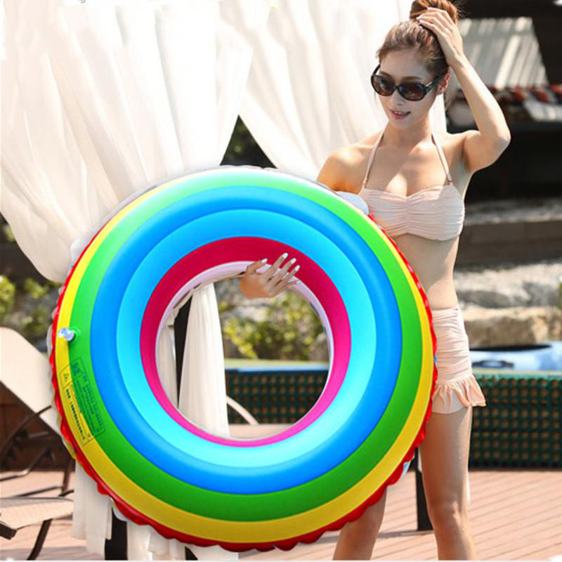 Fun Water Toys For Adults : Adult lifebuoy rainbow inflatable swimming accessories