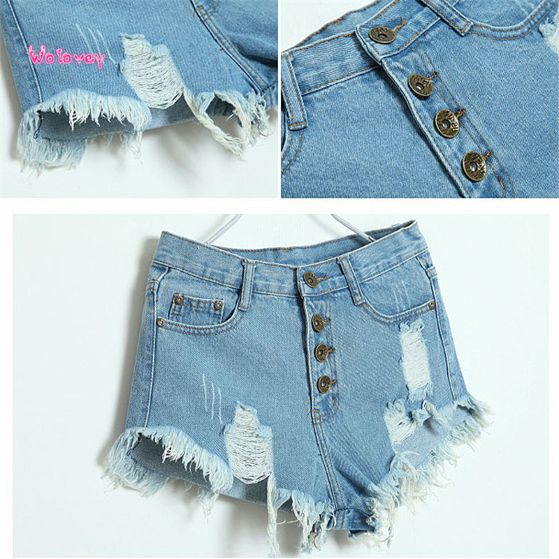 New Style Women Vintage High Waist Jeans Hole Short Jeans Denim Shorts Sexy Hot Fashion Wolovey # 15