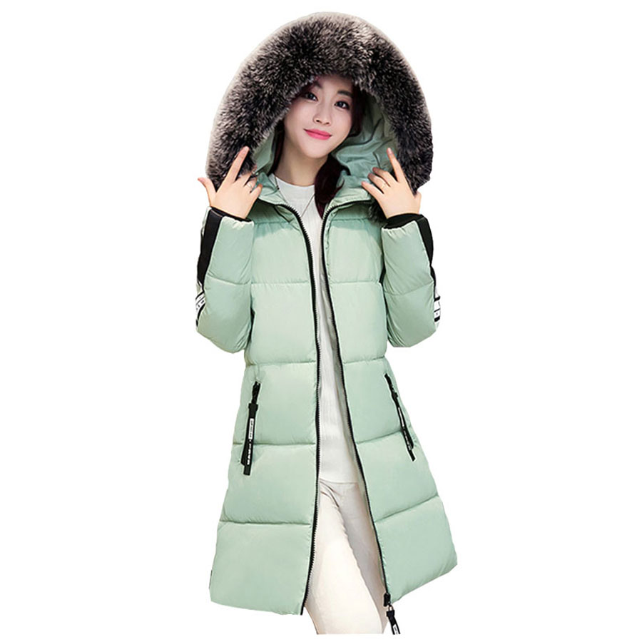 2016 Wadded Winter Jacket Women Thicken Long Patch Designs Down Cotton Coat Hooded Fur Collar Parkas