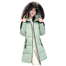 2016 Wadded Winter Jacket Women Thicken Long Patch Designs Down Cotton Coat Hooded Fur Collar Parkas Plus Size Overcoat PW0221