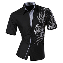Mens 2016 Summer Fashion Print Casual Slim Fit Short Sleeve Male Mixed colors Pocket Office Shirt  Z031 недорого