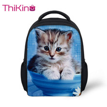 Thikin 2019 Cute Animals Preschool Packie Backpack for Kids Pupils Cat  Schoolbag Good Childrens Day Present