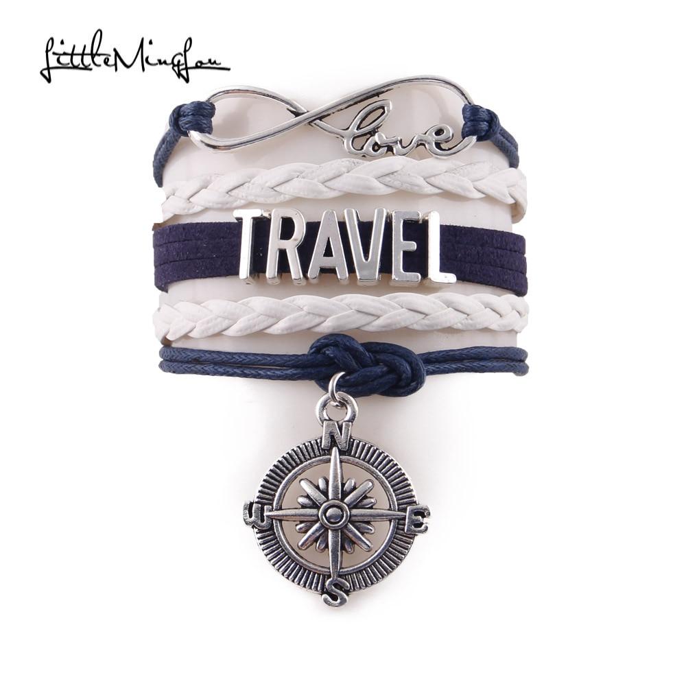 Little MingLou Infinity love hobby Travel Bracelet Compass charm leather wrap men bracelets & bangles for women jewelry
