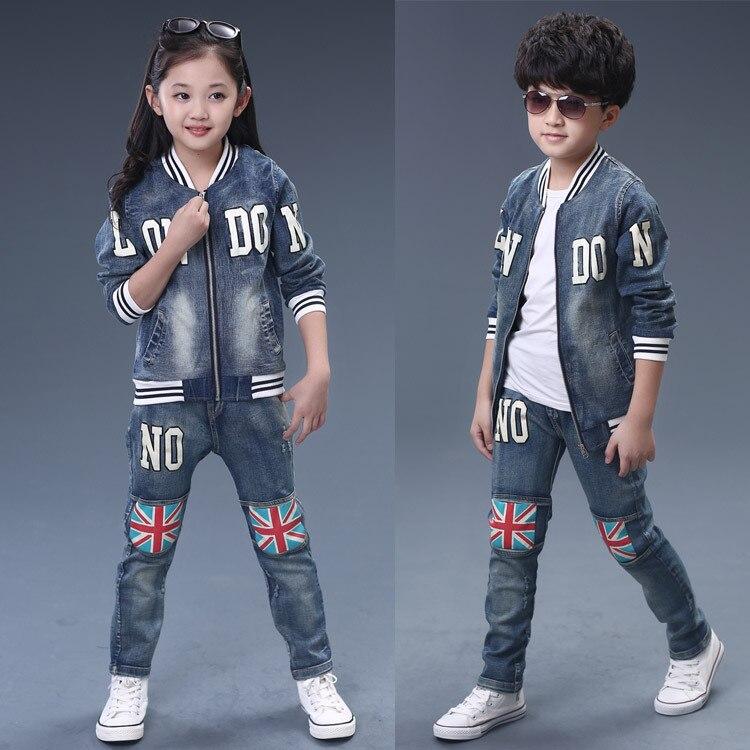 Cheap factory price retail 2-5yrs 2015 new cotton spring children wear autumn boy girl clothes kids clothes 2015 denim 2pcs set