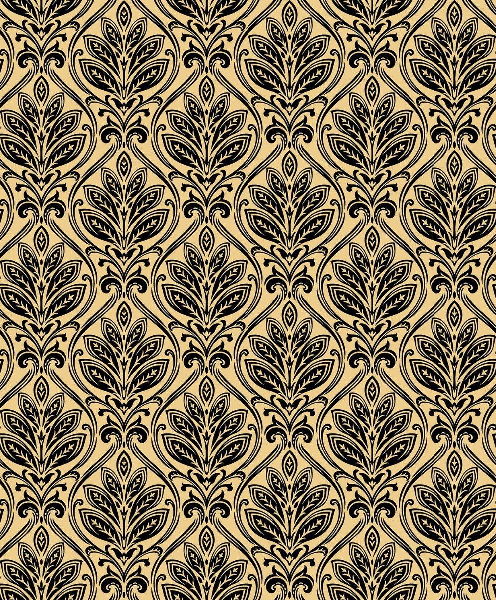 Luxury Black Velvet Flocked Classic Damask Champagne Gold Wallpaper Roll velvet flocked