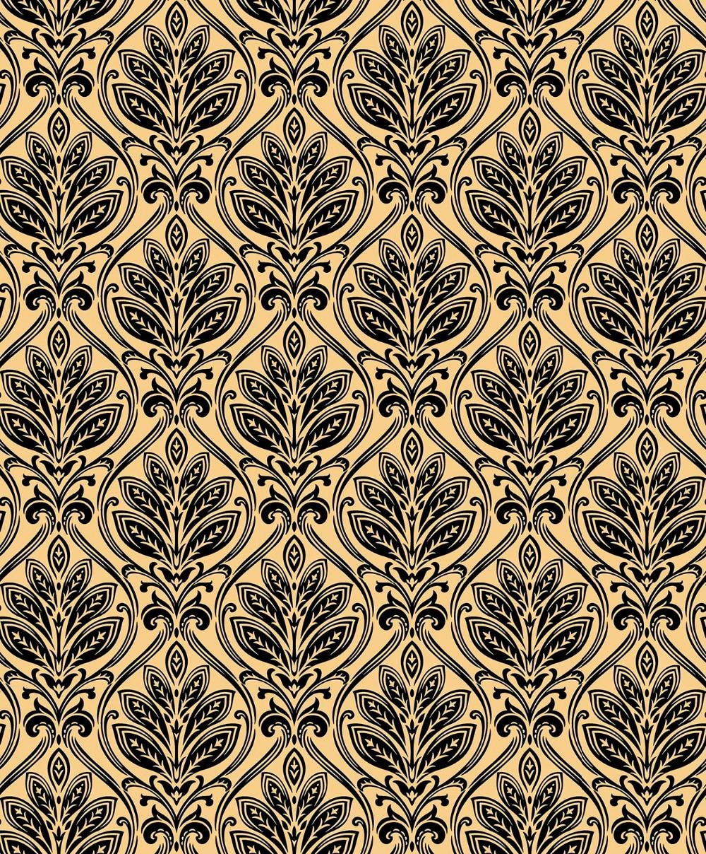 Luxury Black Velvet Flocked Classic Damask Champagne Gold Wallpaper Roll black and white damask wallpaper rolls velvet flocked textured victorian decor