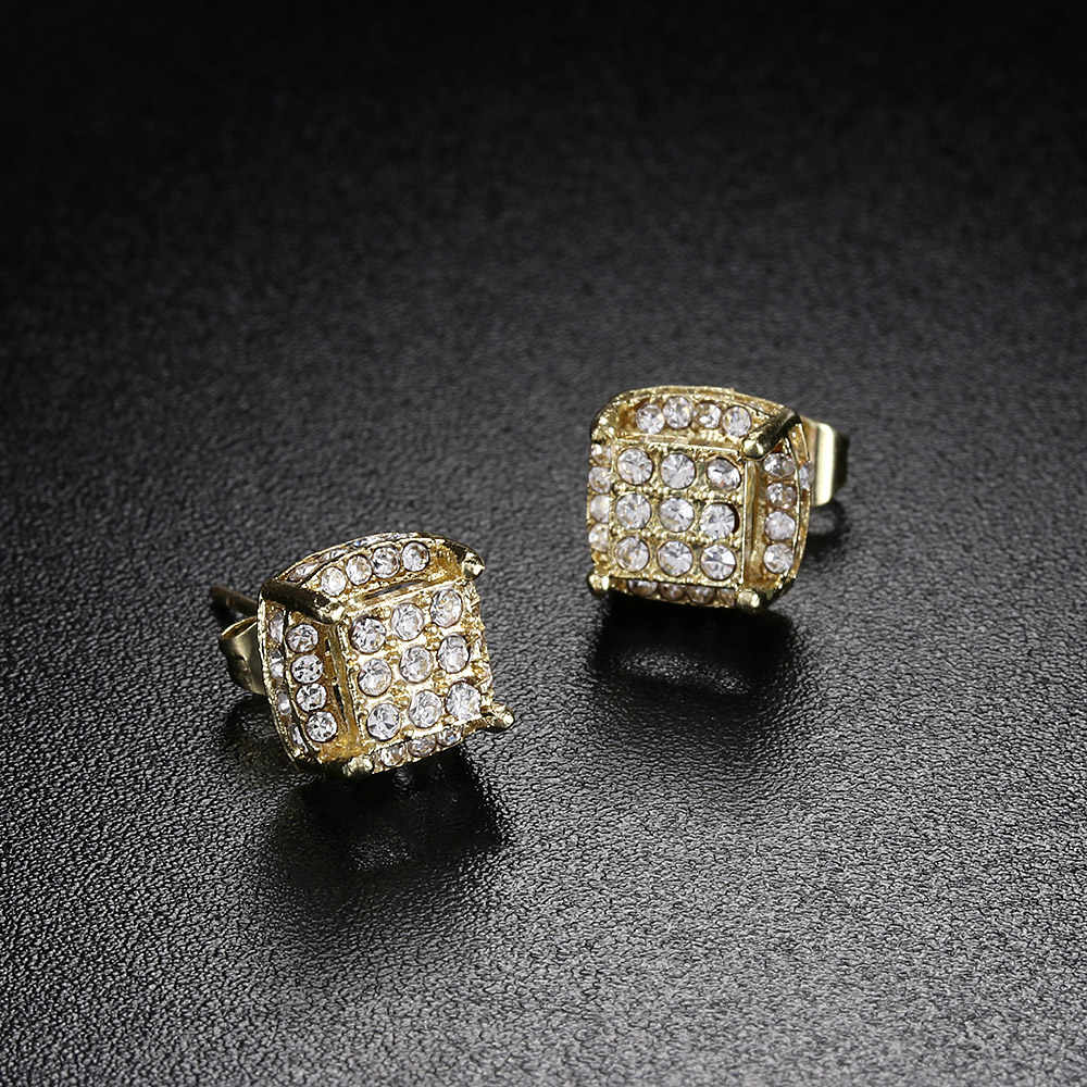 1 זוג אופנה צהוב גולדפילד לבן זירקון אבן המזל אוזן הרבעה עגיל הכלה נסיכת חתונה אירוסין