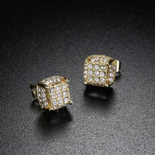 1pair Fashion Yellow Gold Filled White Zircon Birthstone Ear Studs Earring Bride Princess Wedding Engagement(China)